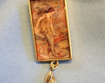 Dark-haired Art Nouveau Mermaid Pendant with Shell
