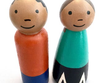 Peg Doll Pair - Dollhouse Parents - Medium Skin Tone - Peg Doll Parents - Peg Doll Couple - Large Peg Dolls - Wooden Peg Dolls