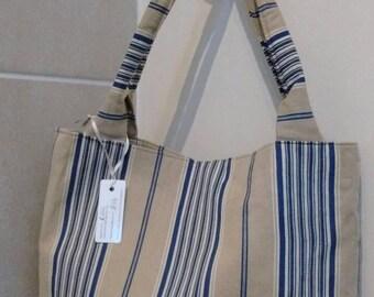 Brown and blue stripe bag