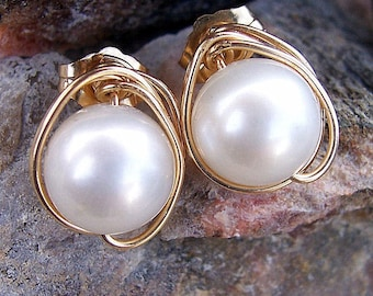 Pearl and gold wire wrapped stud earrings  wedding jewelry  bridesmaids gifts bridal jewelry, Mothers  Day