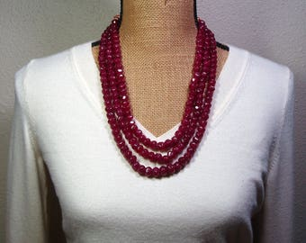 Large Quality Natural Earth Mined 901.00 Carats Faceted Rich Brazilian Red Ruby Gemstones 3 Strand Necklace