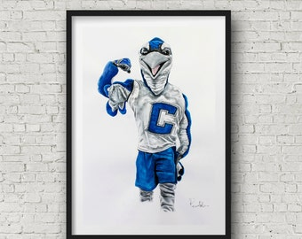 "Creighton University Billy the Bluejay art print limited edition 16""x24"" by Pierre Bolouvi"