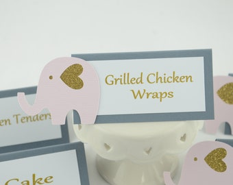 Elephant Tent Place Card, Food Labels, Elephant Theme, Buffet Food Label, Glittered Gold, Pale Pink And Gray Colors, Baby shower