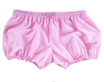 JULY PREORDER Lolita Bloomers flannel pink gingham pink bows shorts cotton underwear lingerie drawers pajamas nightwear sleepwear cute