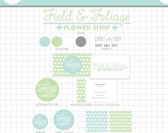 LOGO BRANDING Set - Field and Foliage - Business Card, 2 logos, Sticker, Icons, Avatar, Patterns & More