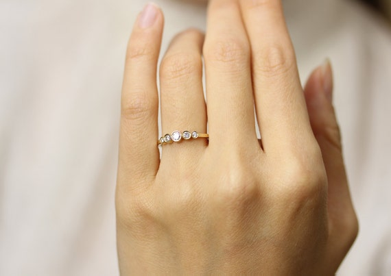 set round brilliant ring rings cut bezel dainty media diamond engagement thin stone five