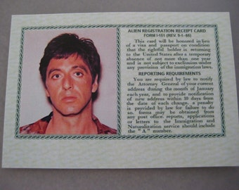 SCARFACE MOVIE - Tony Montana Green Card ( Screen Accurate ) B3G1F