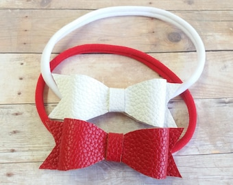 Leather Bow Headband, Leather Headband, Baby Nylon Headband, Red Leather Bow Headband, White Leather Bow, Nylon Bows, Leather Headband, Bows