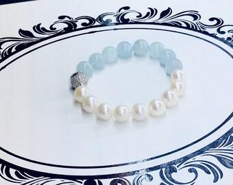 Aquamarine with freshwater pearl bracelet