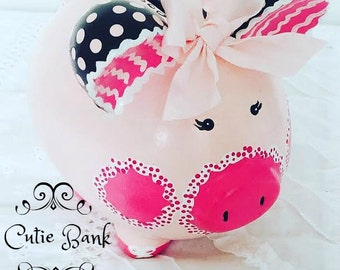 Painted Piggy Bank, Medium Size Bank, Girl Piggy Bank, Pink and Brown Piggy Bank, Personalized Piggy Bank, READY TO SHIP