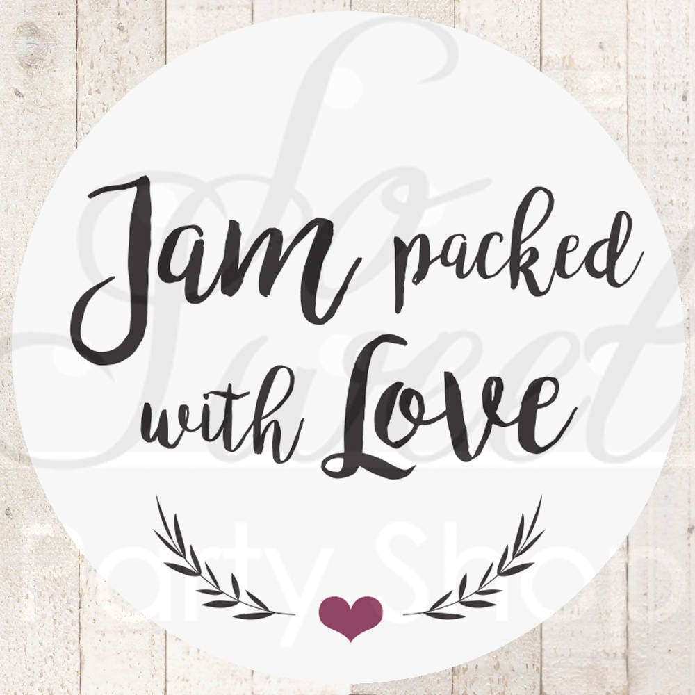 Jam Wedding Favor Stickers Jam Packed With Love Stickers