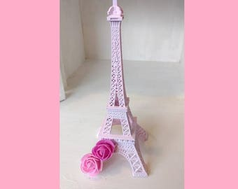 """1 Large Pink Eiffel Tower with Pink Roses Shabby Chic 10"""" Size Paris France"""