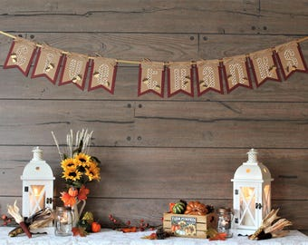 Thanksgiving Banner - Give Thanks Banner - Fall Banner - Thanksgiving Decorations - Fall Decoration - Fall Garland - Happy Thanksgiving