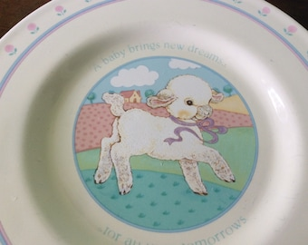 Baby Lamb Hallmark Plate 1984, A baby brings new dreams, collectible hard to find children's plate, baby's first plate