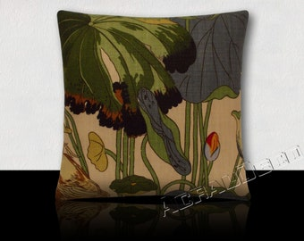 Square cushion lilies and lotus blue indigo/green Emerald/Navy/green moss, paprika, red, orange on light sandy background.