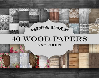 MEGA Pack Rustic Wood Digital Paper Pack - wood, vintage lace and floral pattern invitation cards backgrounds - Special Limited Time Offer