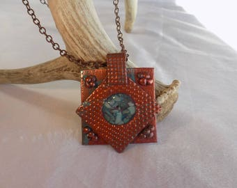Polymer clay copper and turquoise necklace