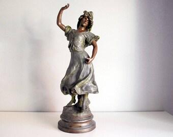 Art Nouveau Statue, Luca Madrassi Sculpture, Carmen Gypsy Dancer, Antique French Woman, Cast Metal Spelter, 1890s Victorian Decor