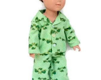 18 Inch Boy Doll Pajamas, Green Turtle Pajamas, Flannel Doll Pajamas, Winter Doll Clothes, Doll Pyjamas, Made to Order