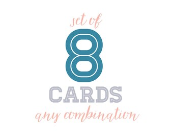Set of 8 Bridget Hall Design greeting cards. Any combination. A6 size (105mm x 148mm or 4.1 x 5.8 inches)