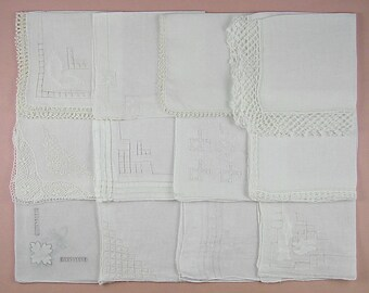 Vintage Hanky Lot,Wedding Hanky Lot,One Dozen White Wedding Vintage Hankies Handkerchiefs (Lot #89)