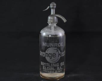 Rare Antique Orange Kist Soda Seltzer Syphon Bottle Munroe Bottling Co Elgin Ill