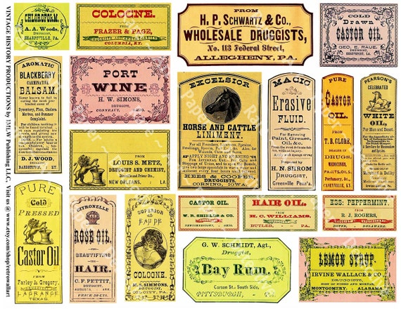 Famous Antique Pharmacy Labels Printed Apothecary Clip Art Medicine PF33