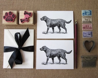 Black Labrador Retriever Dog Note Cards Set of 10 with Matching Envelopes
