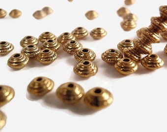 50 Spacer Beads, 5 x 3 mm, Bicone, Antique Gold Color, Tibetan Silver, Jewelry Making & Craft Supply, Hot fashion, lead  free
