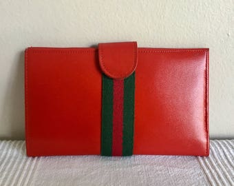 Vintage St Thomas Red Cowhide Leather Wallet Coin Purse Organizer
