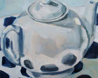 Still Life Teapot Painting - Original Oil Painting - The White Teapot On Navy Dots - 8 x 8