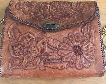 Vintage handmade tooled leather handbag with flower detail and gold chain