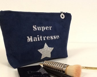 Navy Blue Master Kit, with Customizable Silvery Glitter Message / Suede Makeup Pouch, Navy Blue Silver Glitter