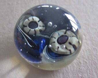 Murrini Paperweight Button.  Gigglin Grizzly Glass Studio Button  OneWomanRepurpose B 403