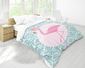 Pink Flamingo Duvet Cover , Flamingo Duvet , Bedding , Bedroom Decor , Dorm Bedding , Bedroom Decor , Housewares , Nursery Decor , Kids