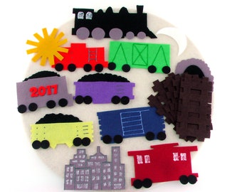 Felt Board Train Toy, Quiet Toy Gift, Activity Learning Felt Toys, Montessori Travel Toys, Travel Toy Birthday Gifts, Kid Felt Activity Toys