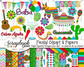 FIESTA! Clipart & Papers Kit, 23 png Clip arts, 20 jpeg Papers Instant Download party mexico mexican maracas pinata jalapeno chile salsa
