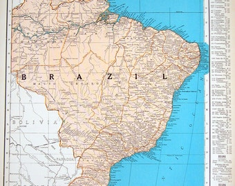 Map of Brazil, Map of Colombia - 1936 Vintage Map from World Atlas 11 x 14