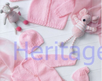 pink baby cardigans hat and mittens  dk knitting pattern 99p