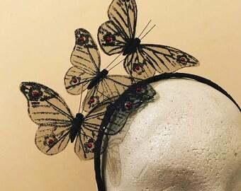 Black Fascinator / Butterfly Headpiece. Bespoke Fashion