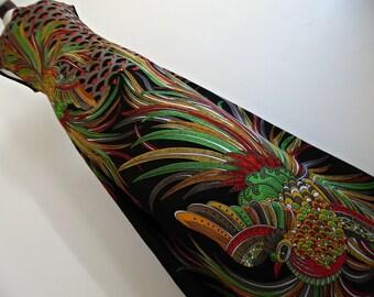 EMBRACED BY PHOENIXES . Sensational Colorful Phoenix Bird Print Psychedelic Maxi Dress 70s Feather xL