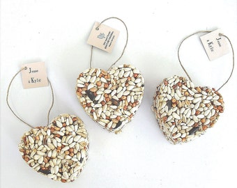 Bird Seed Hearts Personalized Wedding & Bridal Shower Favors Custom Printed Paper Hang Tags - Hemp Twine Hanger Wedding Centerpiece Decor