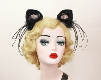 Black and Pink Cat Ears, Halloween Costume, Cat Ears Headband, Any Color You Choose, Cosplay Kitty, Sexy Cat Costume