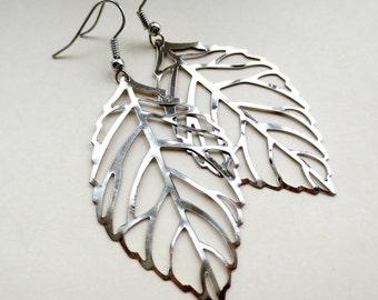 Silver Leaf Earrings, Entire Length 68mm
