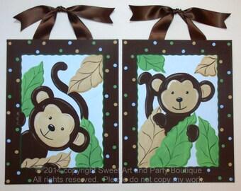Jungle Monkey Art Set of 2 Custom canvas letter name sign wall painting Leaf leaves Sage green orange brown dots children decor baby nursery