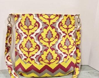 Maroon Mustard White Damask and Chevron - Crossbody Bag - Large Crossbody - Purse - Shoulder Bag - Tote Bag