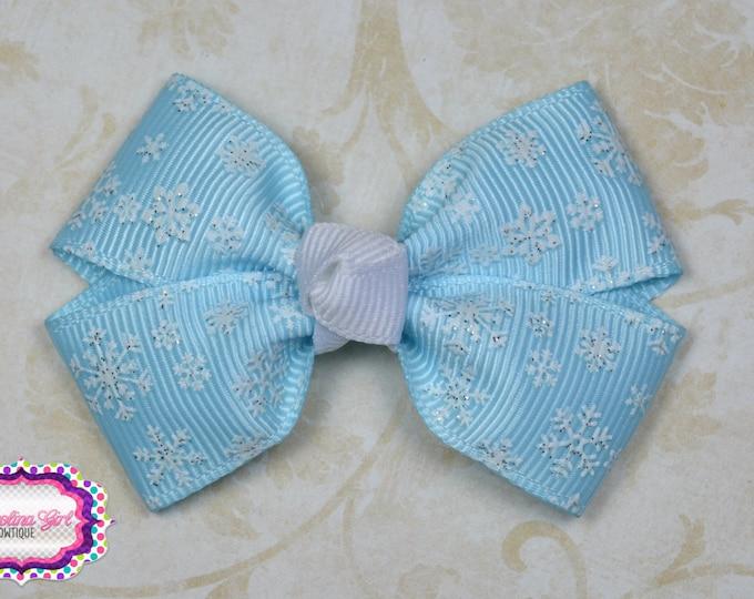 Blue Snowflakes Hair Bow ~ Girls Hair Bows ~ Toddler Hair Bows ~ Small Hair Bows ~ Small Hair Barrette ~ Hair Bows for Girls