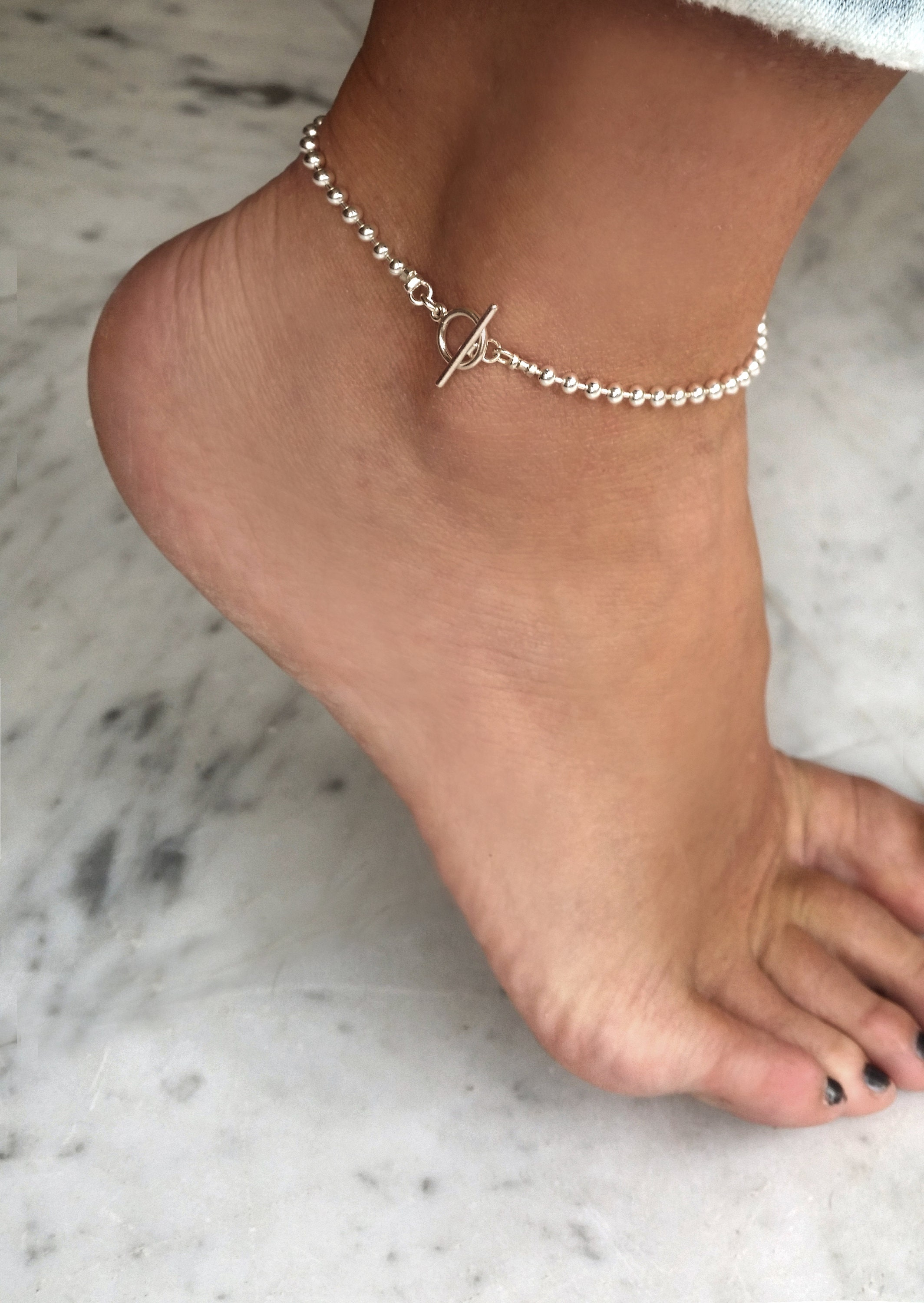 p swarovski simple silver bracelet ankle sterling personalized birthstone bridal heart chain anklet bracelets fullxfull il