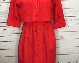 Vintage 60's red cotton button down empire waist cardigan dress set