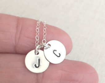 Two Initial Disc Necklace, Two Initial Letter Necklace, Sterling Silver Necklace, Personalized Necklace, Gift For Mom, Holiday Gift